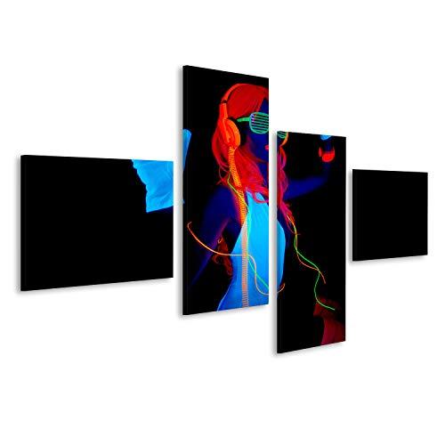 bilderfelix® Bild auf Leinwand sexy weibliche Disco-Tänzerin posiert im UV-Kostüm Wandbild, Poster, Leinwandbild - Weiblich Disco Kostüm