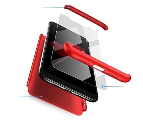 AKC Funda Compatible Xiaomi Mi MAX 2 con 360°Todo Incluido Anti-Scratch, con 2 * HD Vidrio Templado Carcasa Case,Ultra Fina 3 en 1 Hard PC Caja Cover Resistente al Desgaste-Rojo