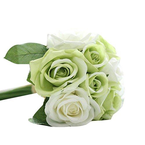 Unechte Blumen ❤️ Timogee Künstliche Deko Blumen Gefälschte Blumen Seidenrosen Plastik Köpfe Braut Hochzeitsblumenstrauß für Haus Garten Floral Künstliche Fake Roses Flanell Blume (Grün)