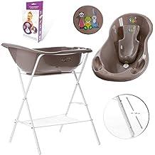 GoFuture Baignoire bébé + Support réglable en hauteur + Siège de bain + Système de drainage (sortie, tuyau)