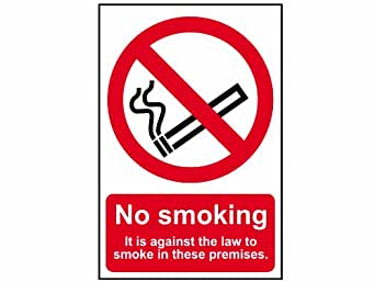 Scan 0567 Panneau en PVC No Smoking It Is Against The Law To Smoke On These Premises 200 x 300 mm