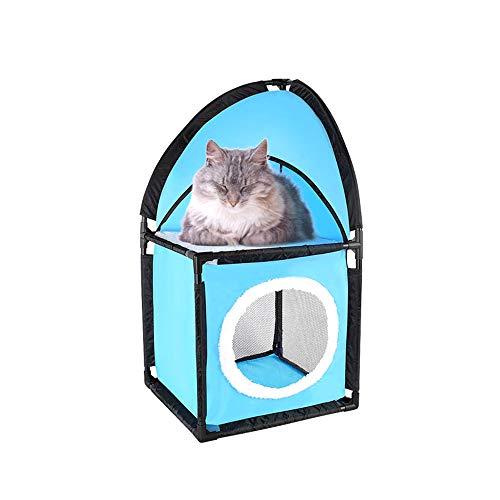 OTENGD 2-stöckige Cat Condo Selbstmontage Einfach zu transportieren Langlebig Beidseitige Belüftung Komfortabel und cool Innovatives Design Blau (Hutch Regale)