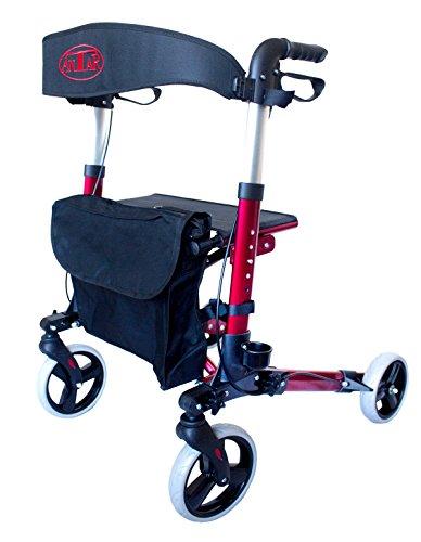 Leichtgewicht-Reiserollator mit Vollausstattung, 3-fach faltbar für Kofferraum, Reise und Flug, Höhe verstellbar, Gurt, Stockhalter, veredelt durch Spezialversiegelung für Easy to Clean (Rot)