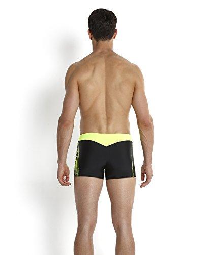 Speedo Herren Badeanzug Logo Aquashorts mit Einsatz Black/Fluo Yellow_8-10426A82530