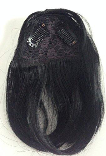 Clip de fermeture avant frange frange droite Couleur 1 Noir 100% Remi Extensions de cheveux humains