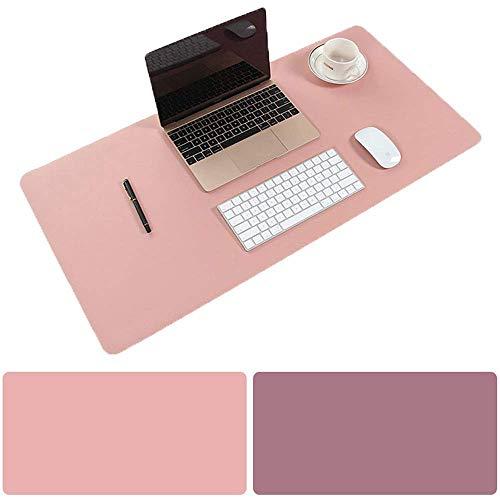 Schreibtischunterlage Multifunktionale Mauspad, 31,5 x 15,75 Zoll Rutschfeste Pu-leder Schreibtisch-maus-matte Wasserdichte Schreibtisch Pad Protector Schreibmatte -Rosa/lila -