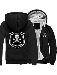 SWISSWELL Homme Punisher Sprayed Skull Pirates Logo Veste Doublé Polaire  Manteau épais à Capuche avec Fermeture 826bbacdeb24