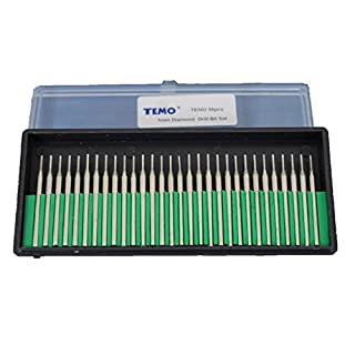TEMO 30pcs 1mm (1/32 inch) Coarse Diamond Coated Burrs Glass Drill Bit Set Grit 80 with 1/8 inch (3mm) Shank fit Dremel and Compatible Rotary Tools