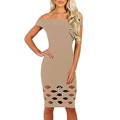 Romacci Women Pencil Dress Sexy Midi Bodycon Dress Off Shoulder Strappy Knee Length Hollow Out Short Sleeves Party Clubwear Dress S-XL (S,
