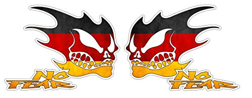 No Fear Deutschland Germany Distressed Grunge Style Oldschool Aufkleber Sticker + Gratis Schlüsselringanhänger aus Kokosnuss-Schale + Auto Motorrad Laptop Racing Tuning Motorsport American Muscle Car