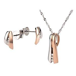 Ardeo Aurum Damen Schmuck-Set Ohrringe Anhänger Kette Collier aus 375 Gold bicolor Weißgold Rosegold mit 0,07 ct Diamant Brillant