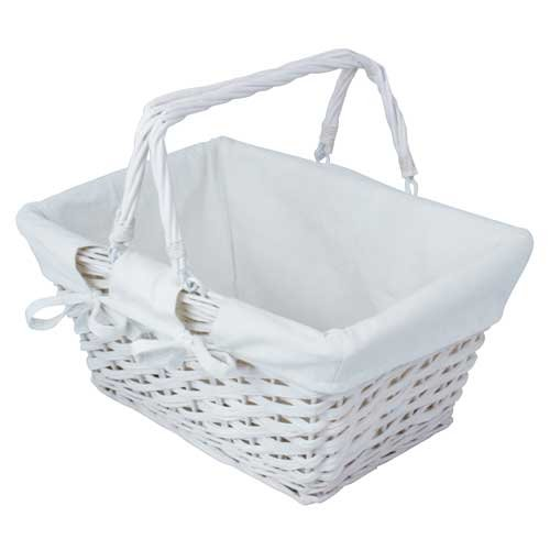JVL Split Willow Shopping Storage Basket with Lining, White