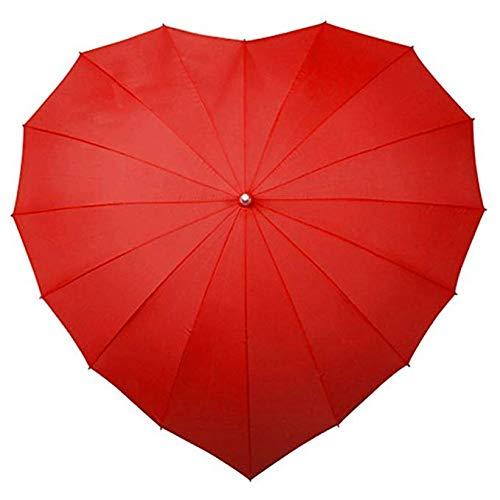 GJYWHF Liebes-Herz-Regenschirm - Roter Herz-Förmiger Roter Hochzeits-Sonnen-Regenschirm