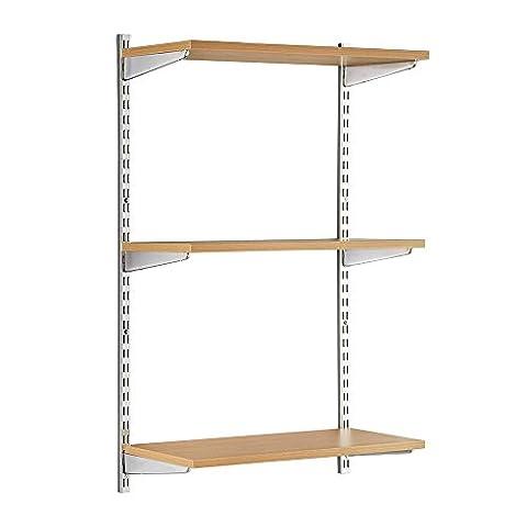 Stabiles Wandregalsystem Twin32 - Wandregalset in Chrom/Eiche ideal für Wohnzimmer, Büro, Garage und Küche- 2 x 1000 mm Wandschienen, 3 x Regalfachböden MDF beschichtet, 6 x Regalträger W900 x D300 mm