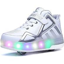Bruce Lin Unisex Niños LED Parpadea Roller Zapatos Skate Ajustable Rueda Automática Aire Libre Patines Moda