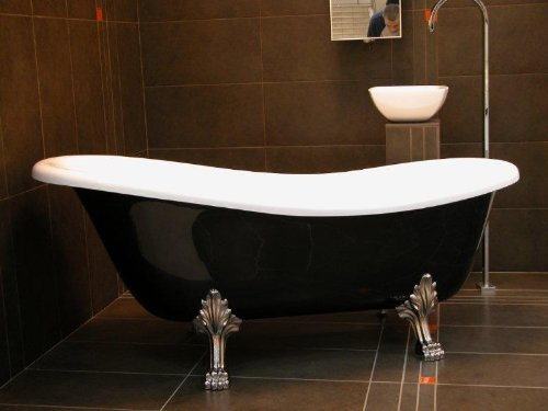 Casa Padrino Freistehende Luxus Badewanne Jugendstil Roma Schwarz/Weiß/Chrom 1470mm - Barock Antik Badezimmer