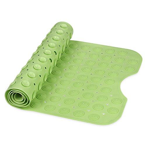 SMALUCK Bad-Teppiche Rutschfeste, umweltfreundliche TPR Gummi Badewanne Mats Massage Badewanne und Dusche mit Saugnapf 100* 40cm, grün, 100x40cm