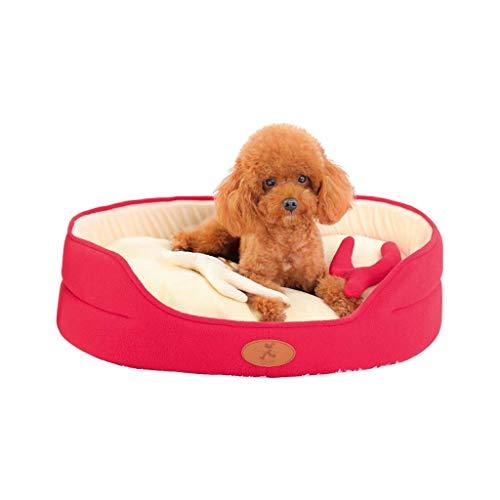 ZHAS Weihnachten Hundebett, Pet Nest, Bottom Oxford wasserdicht und rutschfest, abnehmbar, maschinenwaschbar, rot, geeignet für Haustiere unter 40 kg (Größe: M)
