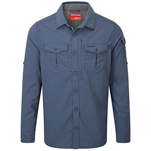 Craghoppers Herren CR165 Nosilife Adventure langärmelige Shirt Dark Khaki