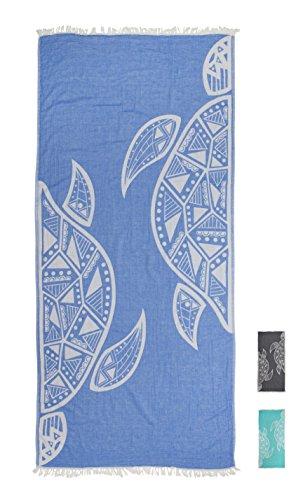 ZusenZomer Hamamtuch XL 'Turtle' | Hamam Badetuch, Fouta, Strandtuch Saunatuch, Handtuch Backpacker | 95x200 cm | 100% Baumwolle, handgewebt, Hochwertige Qualität | Exklusives Design (Blau)