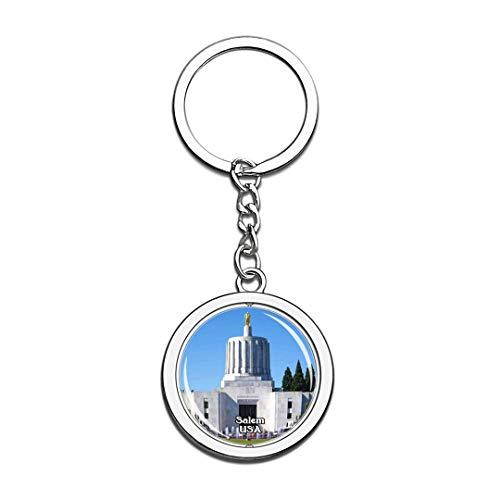 n State Capitol Salem Vereinigte Staaten USA US Schlüsselbund Kristall Drehen Rostfreier Stahl Schlüsselbund Andenken Schlüsselanhänger ()