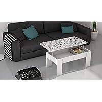 Mesa de centro elevable blanca con serigrafia para salón comedor. 100x50cm