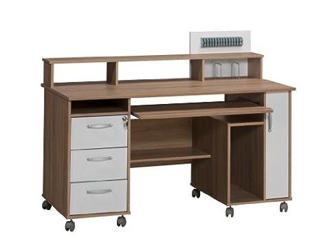 MAJA-Möbel 9475 2539 Schreib- und Computertisch, Sonoma-Eiche-Nachbildung - Icy-weiß, Abmessungen