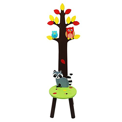 Fantasy Fields Enchanted Woodland Holz-Garderobenhocker für Kinder TD-11701A - Woodland Schal Tiere
