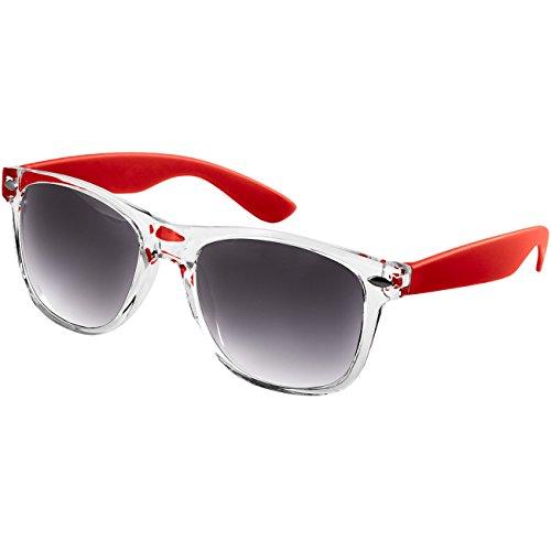 Caspar SG017 Damen RETRO Design Sonnenbrille, Farbe:rot/schwarz getönt