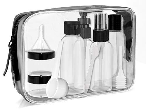 MyGadget Reise Set - Kosmetiktasche transparent in M mit 6 Reiseflaschen Container für Shampoo, 100ml Flüssigkeiten - Flugzeug Kulturtasche Handgepäck