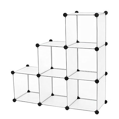 Songmics Cubes/étagère de rangement modulables plastiques cadre en métal blanc transparent 96 x 96 x 31,5 cm LPC111S