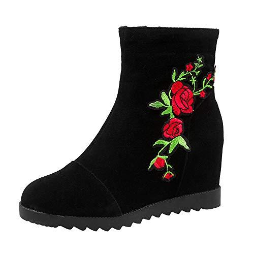 Bottes Courtes Femmes, Manadlian Bottes Brodées Boots Femme Hiver Martin Bottes Chaussures Paresseuses Sauvages en Daim Hiver Chaud Chaussons