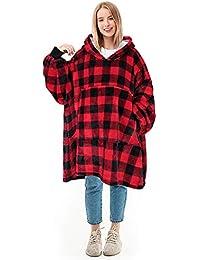 Kato Tirrinia Übergroße Sherpa Hoodie Sweatshirt Decke, Weiche Warme Riesen Hoodie Fronttasche Giant Plüsch Pullover Decke mit Kapuze for Erwachsene Männer Frauen Teenager-Studenten