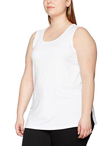 Ulla Popken Damen große Größe bis 58+, Top, Trägertop, Trägerhemd  , Regular Fit , Seitenschlitzen, Uni , 666765 Weiß (weiss 20)