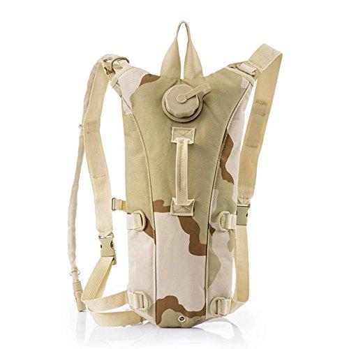 Risefit Military Hydration Rucksack Trinkrucksack mit 2.5L Trinkblase, Trinksystem Fahrradrucksack für Wandern, Radfahren, Joggen, Camping, Verschiedene Färben Gewählt Braungelb Camouflage