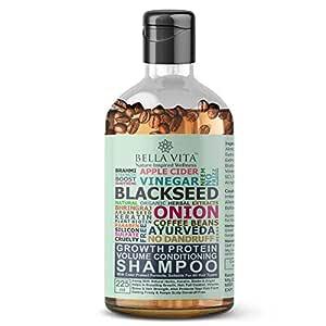 Bella Vita Organic Shampoo with Growth Protein for Hair Volume, Fall, Dandruff, Frizz Control, Shine & Strength, 225 ml