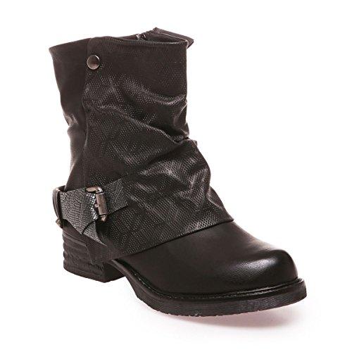 La Modeuse - Bottines femme aspect cuir Noir