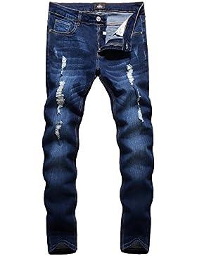 Skinny Jeans Herren - ZLZ Herren Ripped Zerrissene Enge geeignete Dehnbare Slim Jeans