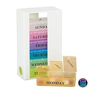 Relaxdays, schwarz-bunt Tablettenbox, 7 Tage, 3 Fächer, wöchentliche Pillendose für morgens, mittags, abends, Englisch, Standard