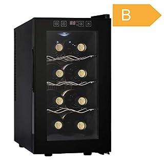 Acopino BC25 kompakter Weinkühlschrank für 8 Flaschen, schwarz, verglaste Tür, 23 Liter
