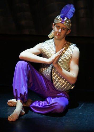 stage-shows-pantomime aladino genio della lampada, Oro Gilet, Pantaloni & PIUMA Genie Cappello Uomo Costume - da TAGLIE S-4XL - Dorato, Men: Medium