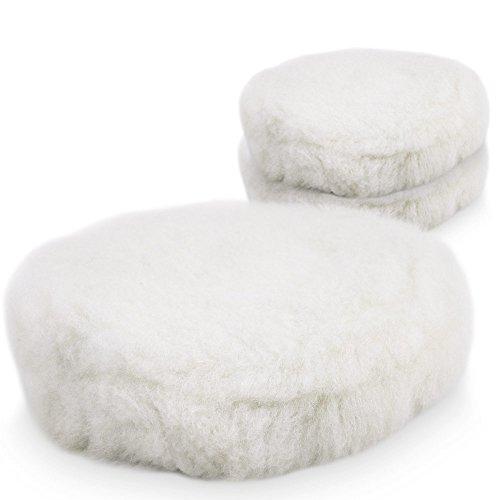 BITUXX® 180mm Wollhaube Polierpad Wollpad Polierfell Wollpuffer Polierhauben Lammfell für Autopoliermaschinen (3X)
