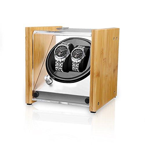 Watch Winder Smith® Uhrenbeweger für 2 Uhren, 5 Modi, Super Leiser Motor, Crystal Uhrenbeweger von Natürliches Bambusgehäuse, Entmagnetisiert Edelstahlrahmen, Super Handwerk