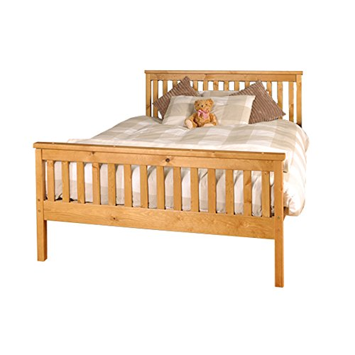 4ft6 Double Atlantis Style Wooden Pine Bed Frame in Caramel