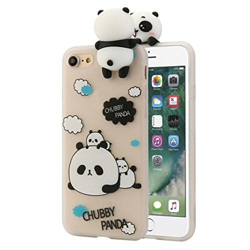 Cover per iPhone 7, Tpulling Custodia per iPhone 7 Case Cover Gli animali neri svegli del fumetto dellanimale 3D coprono la cassa molle del silicone per IPhone 7 4.7 pollici (C) A