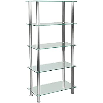 Furniture Uk Shop 5 Tier Glass Shelf Unit Display Table Storage With Chrome  Legs (XGG5, Clear)