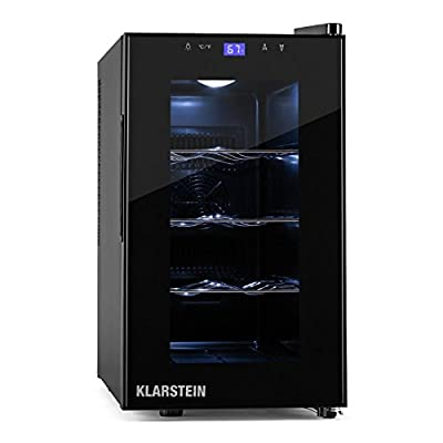 Klarstein Reserve Picola Class B Wine Refrigerator with 3 Removable Chrome Racks and Operation via Touch Surface (8 Bottles, 8-12 degrees Celsius, Switchable Atmosferic Interior Lighting) from Klarstein