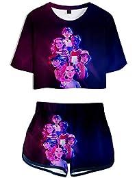 Silver Basic 3D Imprimiendo Camisetas y Shorts Ropa Deportiva de Verano para Niñas