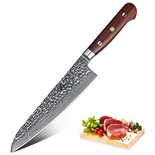 XINZUO Damastmesser Kochmesser 210mm High Carbon 67 Schichten Damaststahl Küchenmesser mit Palisander Griff - Yun Serie