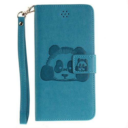 Mo-Beauty® Hülle Für Apple iPhone 7 Plus [5,5 Zoll],iPhone 7 Plus Lederhülle Brieftasche Handy Hülle Case,3D Bär Niedlich Karikatur Muster Leder Hülle Premium Handy Gürtel Tasche Schutzhülle Hülle Cas Blau